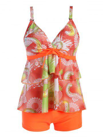 Trendy Plus Size Flounce Print Tankini Set ORANGE 2XL