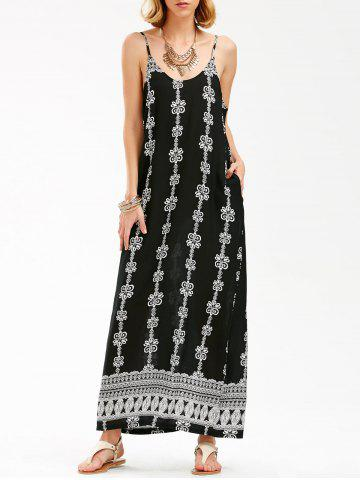 Fancy Jewelry Print Backless Maxi Slip Beach Dress BLACK 2XL
