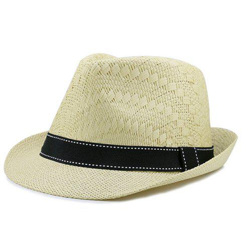 Sunproof Ribbon Splicing Woven Straw Hat - Light Khaki