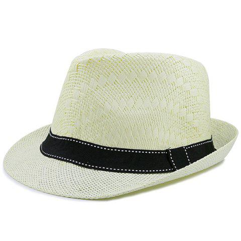 Affordable Sunproof Ribbon Splicing Woven Straw Hat - CANDY BEIGE  Mobile