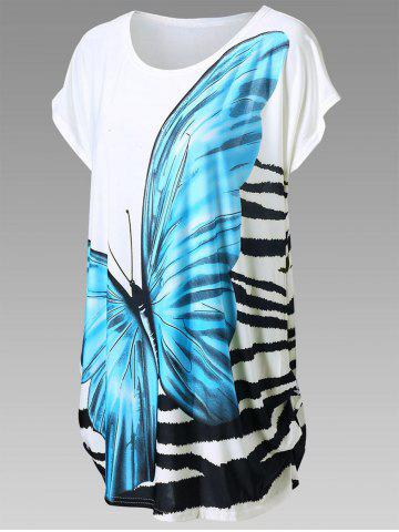 New Butterfly Print Longline Tee - ONE SIZE BLUE Mobile
