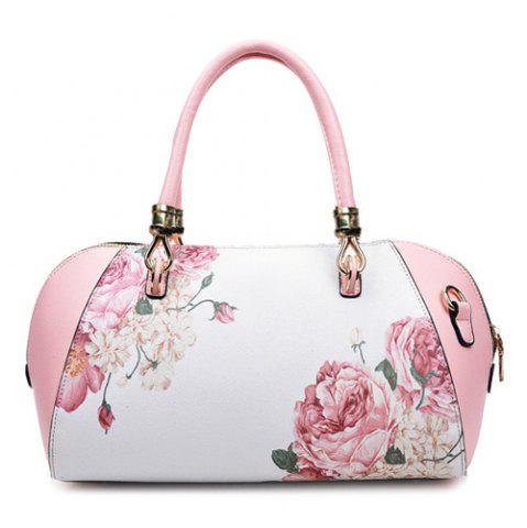 Faux Leather Flower Print Tote Bag - Pink