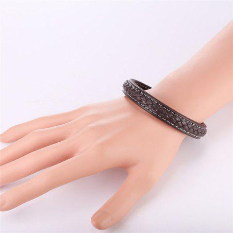Discount Faux Leather Rope Cool Braid Bracelet - BROWN  Mobile