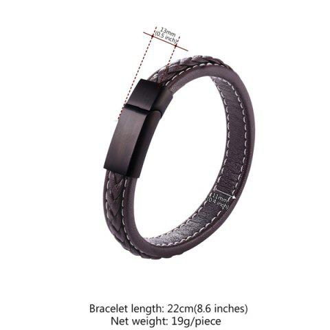 Outfits Faux Leather Rope Cool Braid Bracelet - BROWN  Mobile