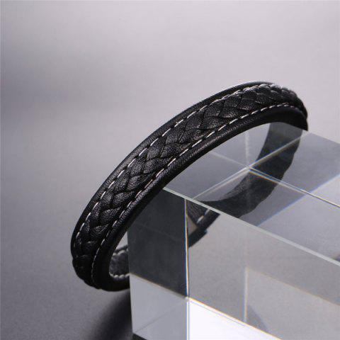 Hot Faux Leather Rope Cool Braid Bracelet - BLACK  Mobile