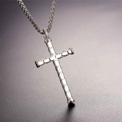 Store Cross Stainless Steel Pendant Necklace - STAINLESS STEEL  Mobile