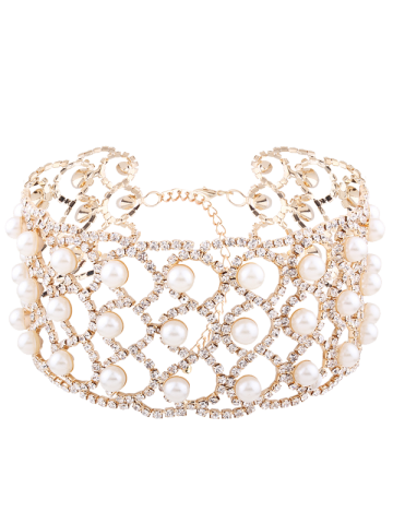 Rhinestone Faux Pearl Alloy Necklace