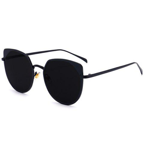 UV Protection Metallic Cat Eye Sunglasses - Double Black - M