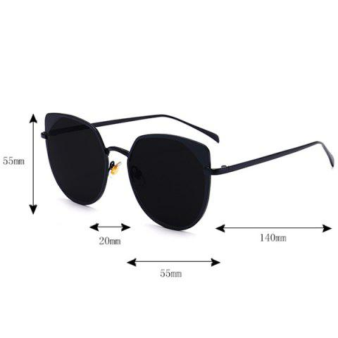 Sale UV Protection Metallic Cat Eye Sunglasses - DOUBLE BLACK  Mobile