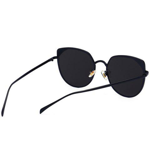 Cheap UV Protection Metallic Cat Eye Sunglasses - DOUBLE BLACK  Mobile