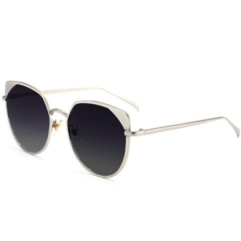Trendy UV Protection Metallic Cat Eye Sunglasses - SILVER FRAME+DARK BROWN LENS  Mobile