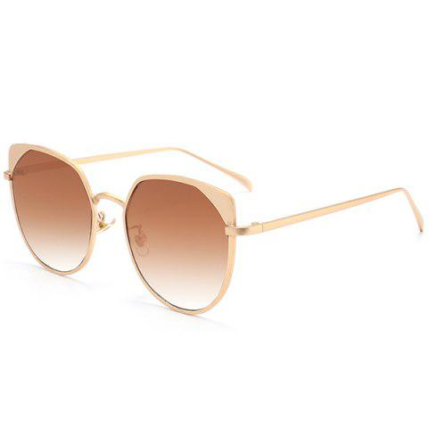 Cheap UV Protection Metallic Cat Eye Sunglasses GOLD FRAME/DARK BROWN LENS