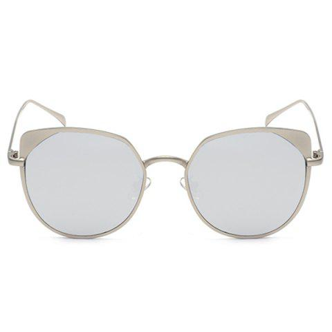 Outfits Reflective Metallic Cat Eye Mirrored Sunglasses - SLIVER FRAME+MERCURY LENS  Mobile