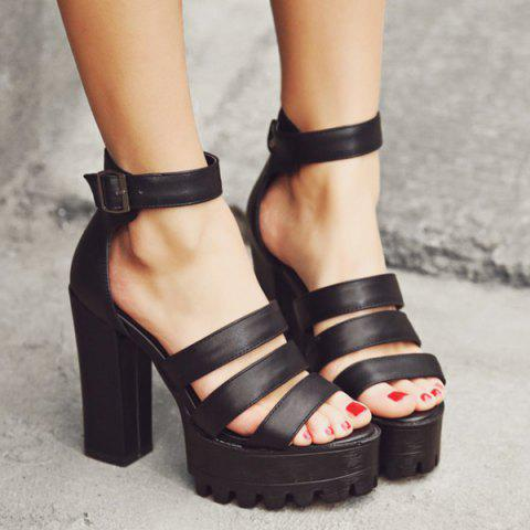 New Strappy Chunky Heel Sandals