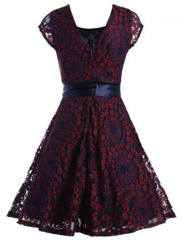 Fashion Lace Overlay Short Sleeve Belted Skater Dress - XL WINE RED Mobile