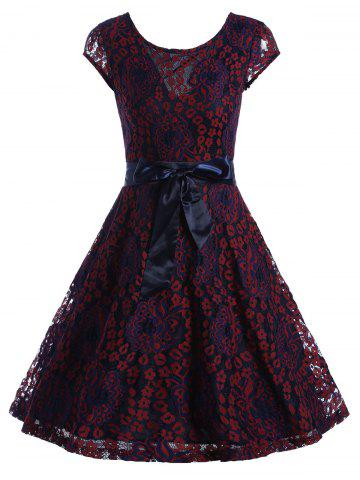 Unique Lace Overlay Short Sleeve Belted Skater Dress - XL WINE RED Mobile