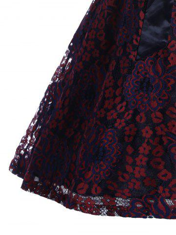 Store Lace Overlay Short Sleeve Belted Skater Dress - 2XL WINE RED Mobile