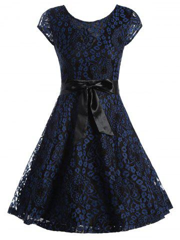 Affordable Lace Overlay Short Sleeve Belted Skater Dress - XL PURPLISH BLUE Mobile