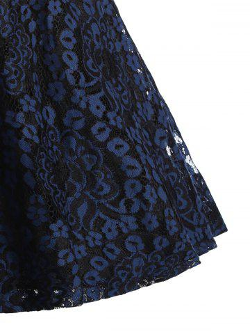 Outfits Lace Overlay Short Sleeve Belted Skater Dress - S PURPLISH BLUE Mobile