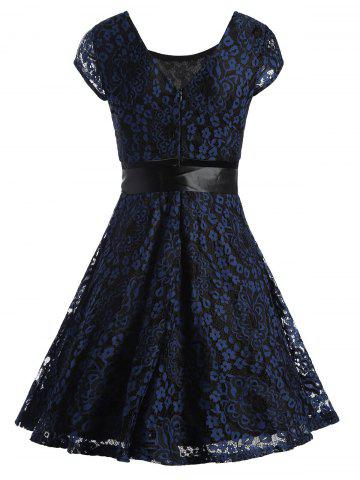 Unique Lace Overlay Short Sleeve Belted Skater Dress - S PURPLISH BLUE Mobile
