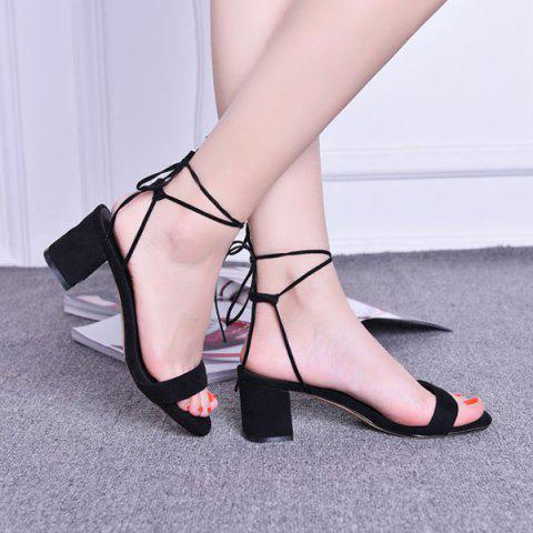Sale Tie Up Mid Heel Sandals BLACK 38