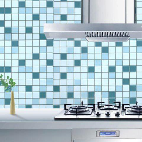 Trendy SINMORS Mosaic Greaseproof Paper Tea Oil Kitchen Wall Stickers - BLUE  Mobile