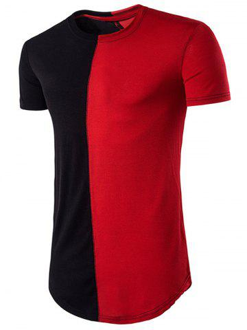 Color Block Panel Hip Hop Longline T-Shirt - Red With Black - S