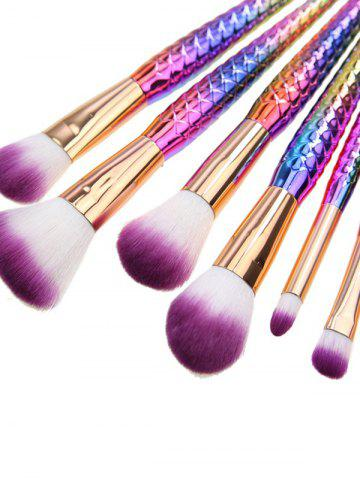 Outfit 7 Pcs Fishscale Shape Mermaid Makeup Brushes Set - RED + PURPLE + BLUE + GREENYELLOW  Mobile