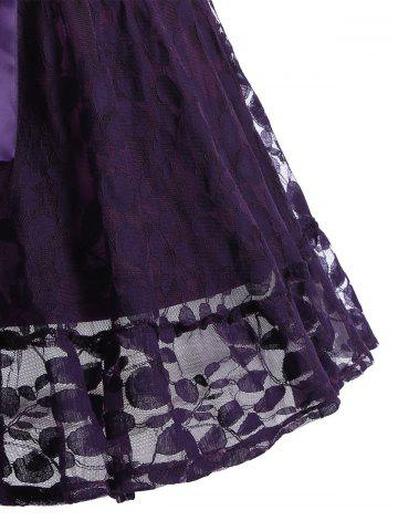 Trendy Lace Skater Homecoming Dress with Sleeves - L PURPLE Mobile