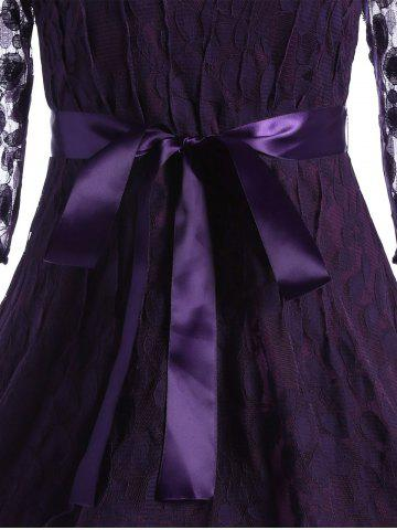 Fancy Lace Skater Homecoming Dress with Sleeves - L PURPLE Mobile