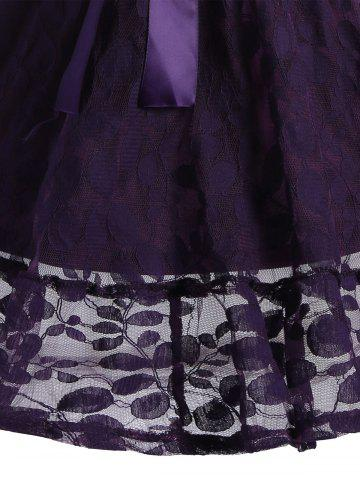 Unique Lace Skater Homecoming Dress with Sleeves - M PURPLE Mobile