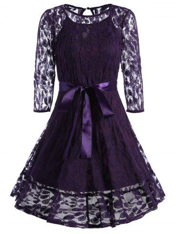 Lace Skater Homecoming Dress with Sleeves - Purple - S