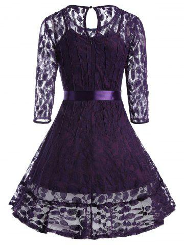 Fancy Lace Skater Homecoming Dress with Sleeves - S PURPLE Mobile