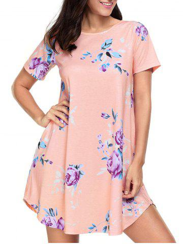 New Floral Pockets T-Shirt Shift Beach Dress PEACH XL