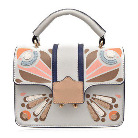 Butterfly Print Cross Body Handbag - Gray