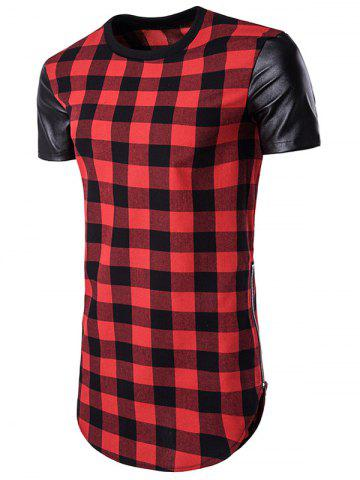 Side Zip Up PU Leather Panel Plaid Longline T-Shirt - Red - M