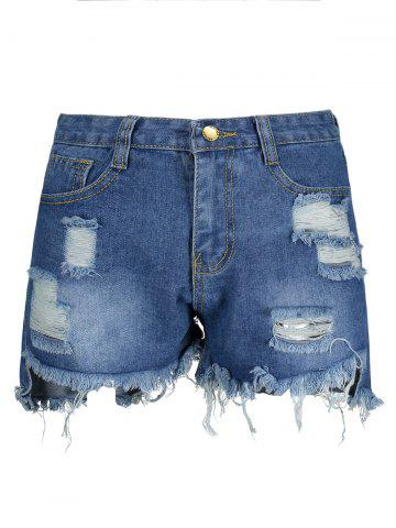 Chic Ripped High Waisted Denim Shorts BLUE 2XL
