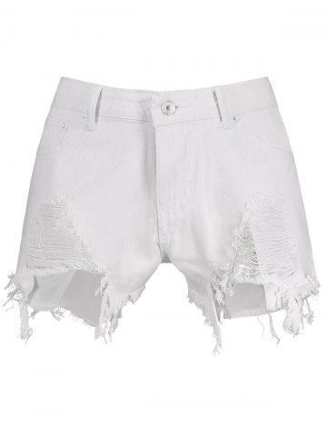 Discount High Waisted Ripped Denim Shorts - S WHITE Mobile