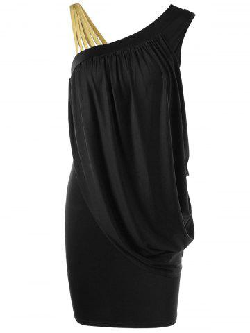 Online One Strap Skew Collar Slimming Drape Dress BLACK 2XL