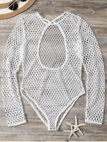 Chic Openwork See-Through Bodysuit Cover Up - M WHITE Mobile