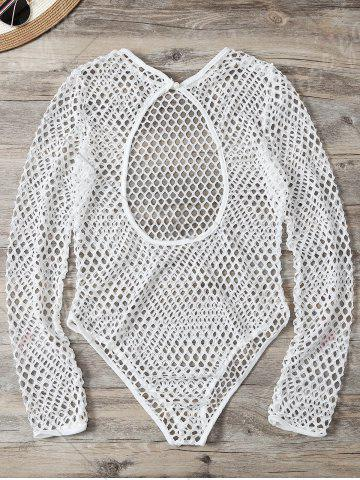 Store Openwork See-Through Bodysuit Cover Up - M WHITE Mobile