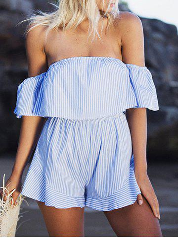 Off The Shoulder Striped Flounce Romper Bande Bleu XL