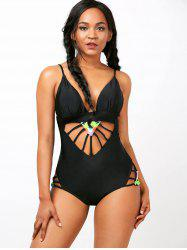Spaghetti Strap Cut Out One-Piece  Swimwear - BLACK
