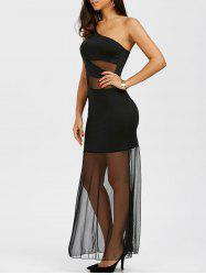 Maxi One Shoulder Mesh Sheer Cocktail Dress