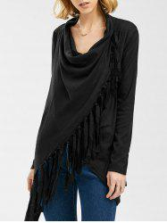 Tassel Asymmetric Long Sleeve Top -