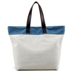 Color Block Canvas Shoulder Bag