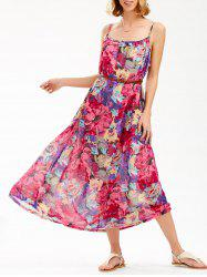Bohemian Floral Slip Beach Swing Dress - COLORMIX