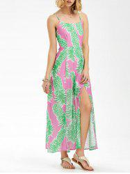 Spaghetti Strap Backless Pineapple Print Maxi Dress