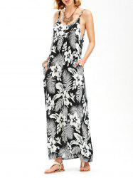 Floral Palm Leaf Backless Maxi Slip Dress