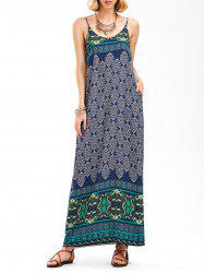 Vintage Printed Backless Maxi Slip Dress